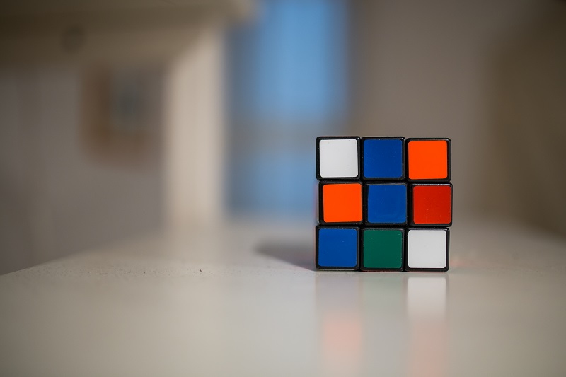 Rubik's cube on the table