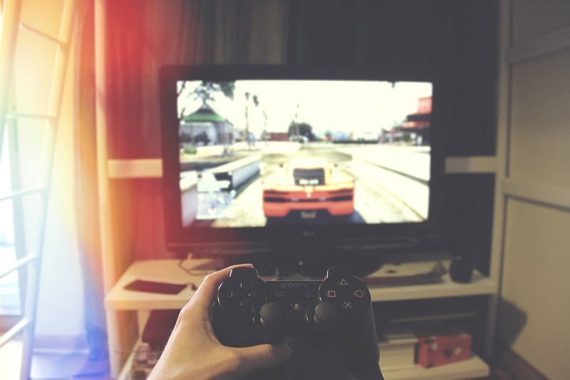 A person playing game on an console